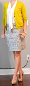 outfit post: mustard cardigan, white tie blouse, printed pencil skirt
