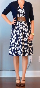 outfit post: navy & white polka-dot dress, navy cardigan, wide woven belt