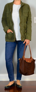 napa/san francisco outfit post: military jacket, striped shirt, skinny jeans