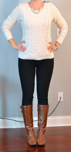 outfit post: cream cable knit sweater, black skinny jeans, brown riding boots