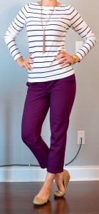 outfit post: striped top, purple cropped pants, nude flats