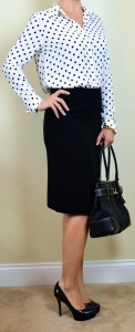 outfit post: polka-dot blouse, black pencil skirt