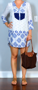 napa/san francisco outfit post: blue & white tunic dress