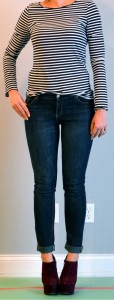 outfit post: black and white striped shirt, skinny jeans, rachel shoes