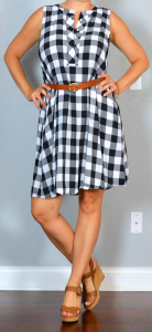 napa/san francisco outfit post: gingham dress, brown wedges