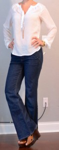 outfit post: white cotton peasant blouse, flared jeans, brown wood wedges
