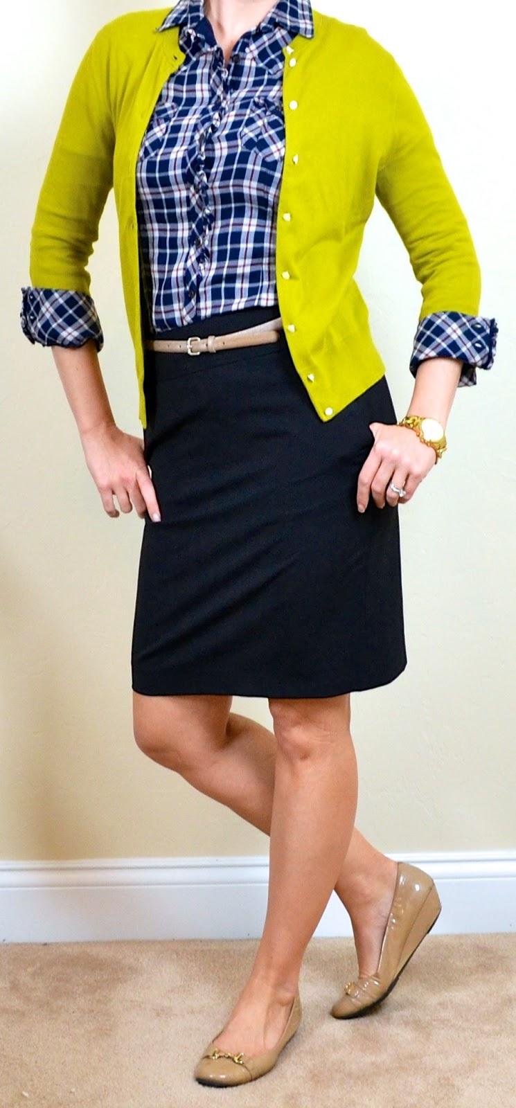 Outfit post blue plaid shirt mustard green cardigan black pencil skirt