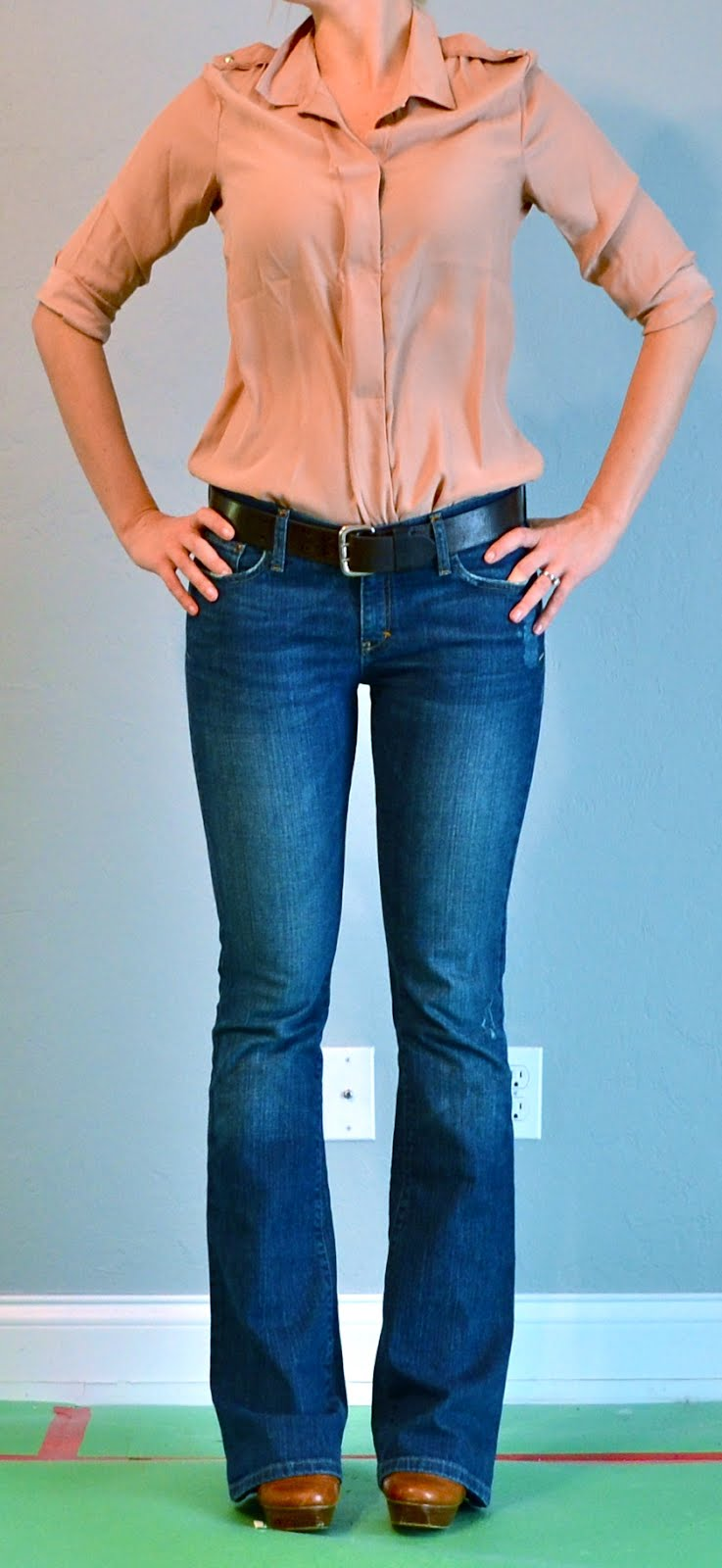 Outfit post taupe shirt u0026 bootcut jeans