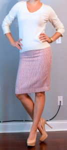 outfit post: cream top, pink tweed pencil skirt, nude heels