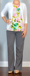 outfit post: white cardigan, floral blouse, grey pants, nude wedges