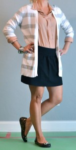 outfit post: peach button down, grey striped cardigan, black skirt