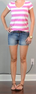 outfit post: pink striped t-shirt, cutoff jean shorts