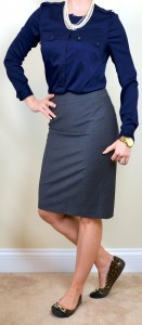 outfit post: navy blouse, grey pencil skirt, leopard flats