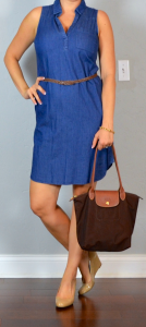 outfit post: chambray shirtdress, nude wedges