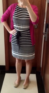 outfit post: black and white striped dress, pink cardigan