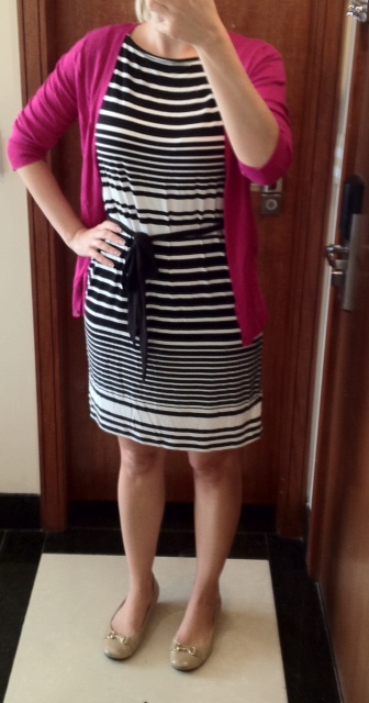 Outfit Post Black And White Striped Dress Pink Cardigan