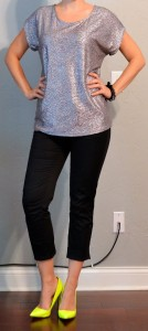 outfit post: silver sequin top, black cropped pants, neon yellow heels