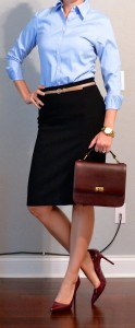 outfit post: blue button down shirt, black pencil skirt, burgundy pumps