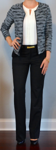 outfit post: boucle jacket, white pleated keyhole blouse, black dress pants