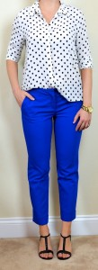outfit post: polka-dot blouse, blue cropped pants, black t-strap wedges