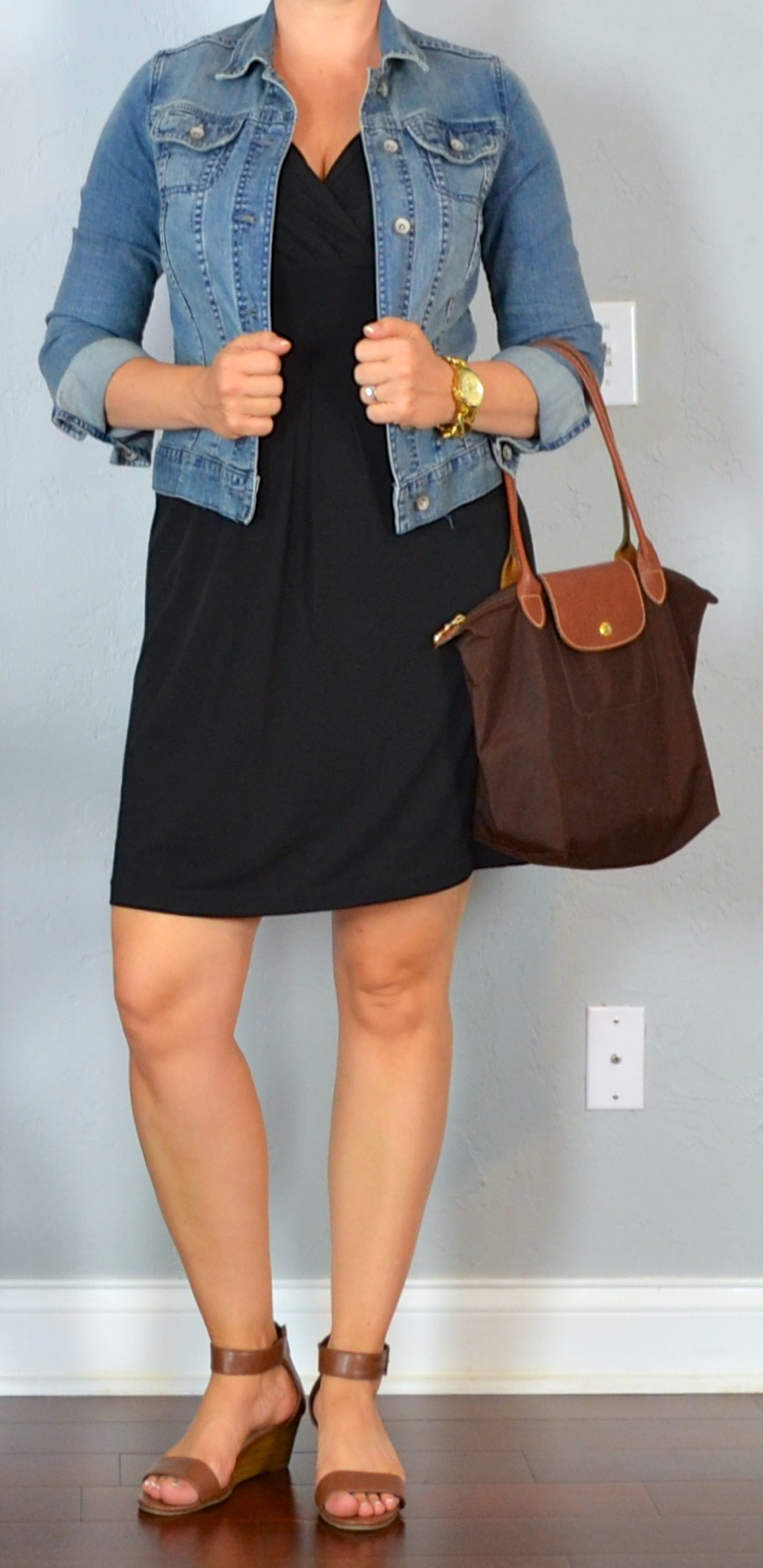 outfit post: little black dress, jean jacket, brown wedge ...