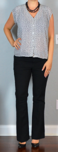 outfit post: dot blouse, black pants, black wedges