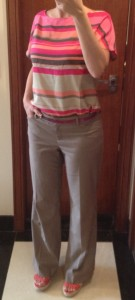 outfit post: pink and orange stripe top, pink belt, orange shoes