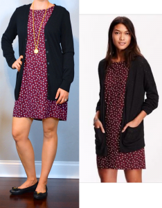 outfit post: burgundy printed shift dress, black boyfriend cardigan, black ballet flats