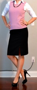outfit post: white button down, pink shell, black pencil skirt