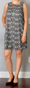 outfit post: patterned shift dress, black patent wedges