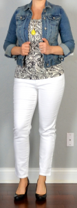 outfit post: white jeans, print top, jean jacket, black patent wedges
