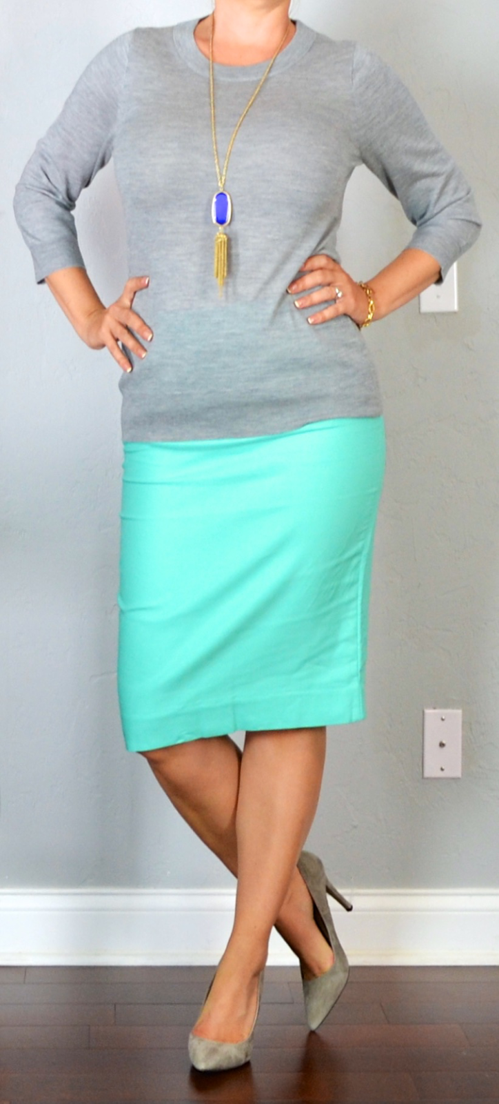 outfit post: aqua pencil skirt, grey sweater, grey pointed toe pumps ...