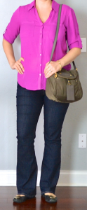 outfit post: pink buttondown shirt, bootcut jeans, black ballet flats