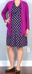 outfit posts maternity: pink drapey cardigan, navy & pink jersey dress, black flats