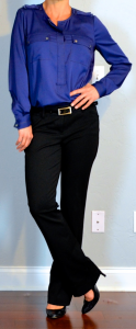 outfit post: navy silk blouse, black dress pants, black pumps