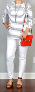 outfit post: white ankle jeans, striped shirt, brown wedge sandal