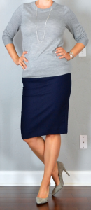 outfit post: grey sweater, navy pencil skirt, grey pumps, silver station necklace