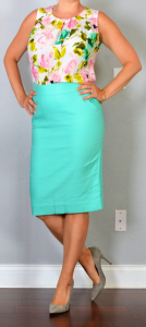 outfit post: aqua pencil skirt, floral crepe shell, grey pointed toe pumps