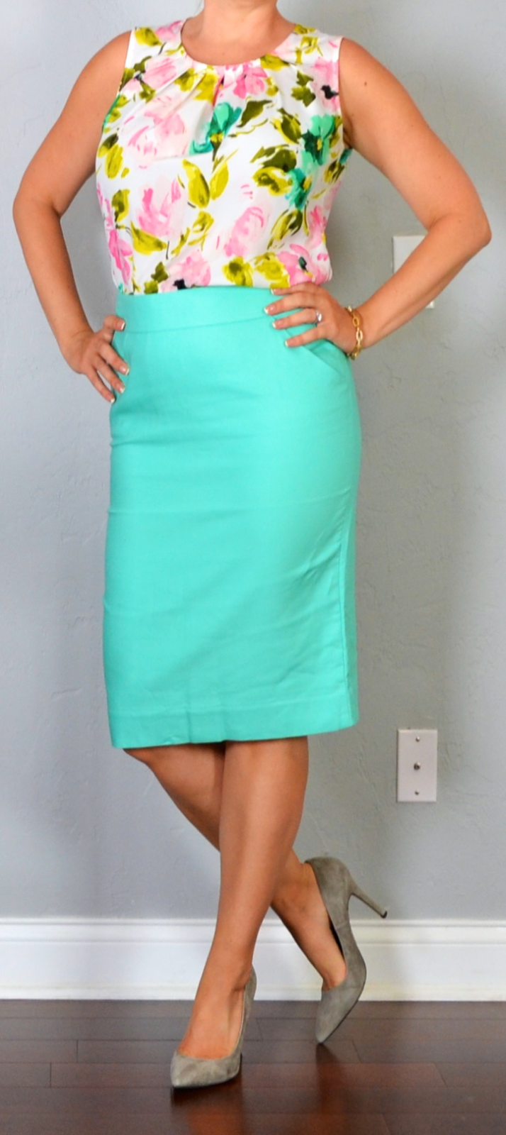 outfit post: aqua pencil skirt, floral crepe shell, grey pointed toe ...