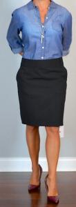 outfit post: chambray shirt, black pencil skirt, maroon heels
