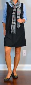 outfit post: black jumper/shift, chambray buttondown, plaid scarf, black ballet flats