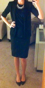 guest post – sister week: black pencil skirt, black blouse, black blazer, black pumps