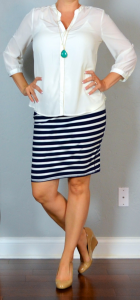 outfit post: white blouse, striped jersey pencil skirt, nude wedges