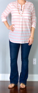 outfit post: pink striped tunic, bootcut jeans, flip flops