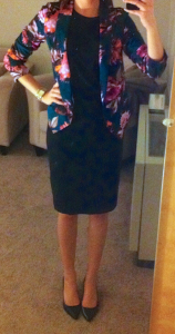 guest post – sister week: floral blazer, black top, black pencil skirt, black pumps