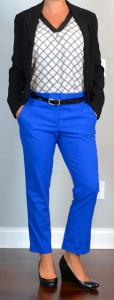 outfit post: black & white print top, black suit jacket, cobalt blue cropped pant