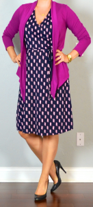 outfit post: pink drapey cardigan, navy & pink jersey dress, black pumps