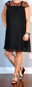 outfit post maternity: black maternity swing dress, black t-strap wedges