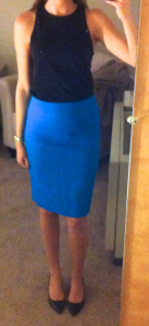 guest post – sister week: black racerback top, blue pencil skirt, black pumps