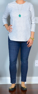 outfit post: striped shirt, skinny jeans, black flats